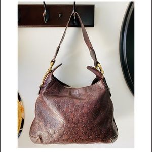 Gucci Monogram Brown leather hobo bag (authentic)
